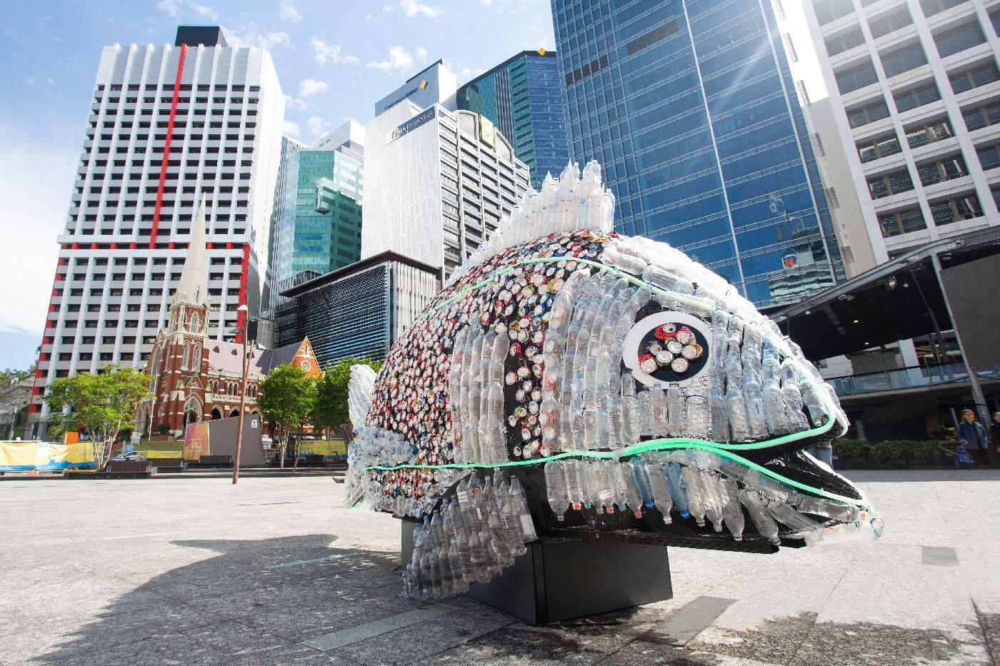 fish artwork statue made from collected containers
